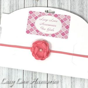 Handmade pink flower headband made to fit
